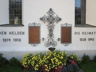 Image in window at Niederau church